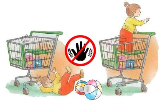 Дети в продуктовых тележках